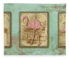 Vintage Pink Flamingo Trio-b Fleece Blanket