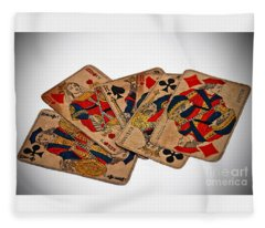 Vintage Playing Cards Art Prints Fleece Blanket