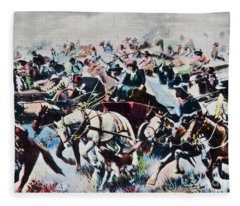 Vintage Postcard The Run Cowboys Fleece Blanket