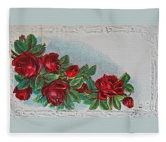 Vintage Postcard With Red Roses Fleece Blanket
