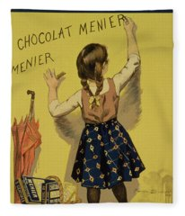 Vintage Poster Advertising Chocolate Fleece Blanket