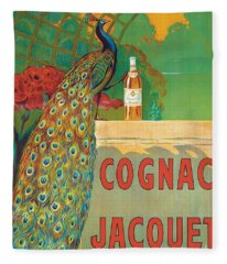 Vintage Poster Advertising Cognac Fleece Blanket