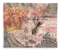 Vintage Queen Bee Collage  Fleece Blanket