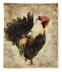 Vintage Rooster Fleece Blanket