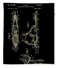 Vintage Safety Device For Skis Patent 1952 Fleece Blanket