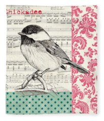 Vintage Songbird 3 Fleece Blanket