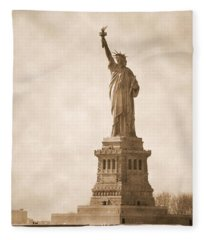 Vintage Statue Of Liberty Fleece Blanket
