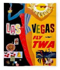 Vintage Travel Poster - Las Vegas Fleece Blanket