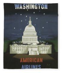 Vintage Travel Poster - Washington Fleece Blanket