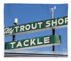 Fleece Blanket featuring the photograph Vintage Trout Shop Sign West Yellowstone by Edward Fielding