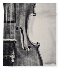 Vintage Violin Portrait In Black And White Fleece Blanket