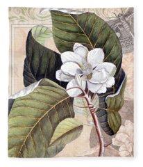 Vintage White Magnolia Fleece Blanket