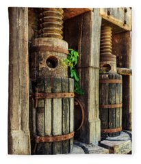 Vintage Wine Press Fleece Blanket