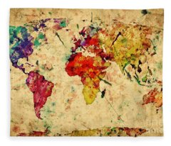 Vintage World Map Fleece Blanket