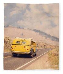 Vintage Yellowstone Bus Fleece Blanket