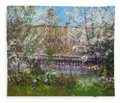 Viola's Apple And Cherry Trees Fleece Blanket