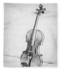 Violin In Black And White Fleece Blanket