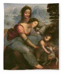 Virgin And Child With Saint Anne Fleece Blanket