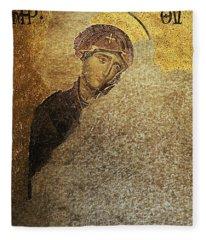Virgin Mary-detail Of Deesis Mosaic  Hagia Sophia-day Of Judgement Fleece Blanket