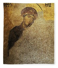 Virgin Mary-detail Of Deesis Mosaic  Hagia Sophia-day Of Judgement Fleece Blanket