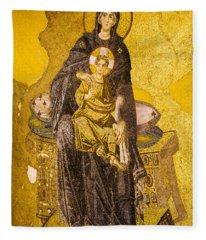 Virgin Mary With Baby Jesus Mosaic Fleece Blanket