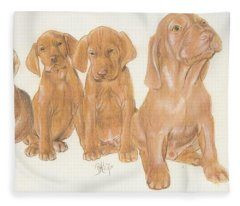 Fleece Blanket featuring the mixed media Vizsla Puppies by Barbara Keith