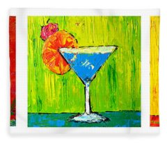 Vodka Martini Collection Bar Decor - Modern Art Fleece Blanket