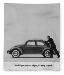 Vw Beetle Advert 1962 - And If You Run Out Of Gas It's Easy To Push Fleece Blanket