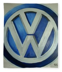 Vw Logo Blue Fleece Blanket