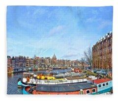 Waalseilandgracht Amsterdam Fleece Blanket