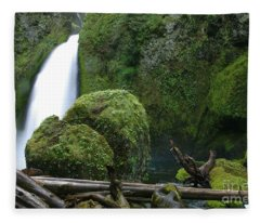 Wahclella Falls And Boulder Fleece Blanket