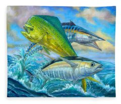 Wahoo Mahi Mahi And Tuna Fleece Blanket