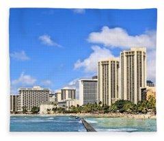 Waikiki Beach Hawaii Fleece Blanket
