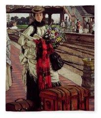 Waiting At The Station, Willesden Junction, C.1874 Fleece Blanket