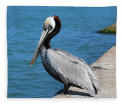 Waiting For A Fish  Fleece Blanket
