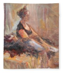 Waiting For Her Moment - Impressionist Oil Painting Fleece Blanket