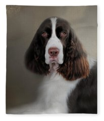 Waiting Patiently - English Springer Spaniel Fleece Blanket