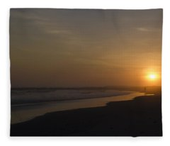 Walking Down The Beach Fleece Blanket