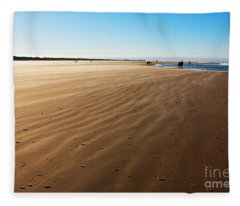 Walking On Windy Beach. Fleece Blanket