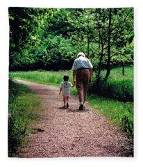 Walking With Grandma Fleece Blanket