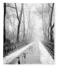 Walkway Snow And Fog Nyc Fleece Blanket