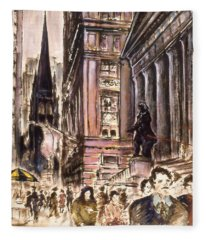 New York Wall Street - Fine Art Painting Fleece Blanket