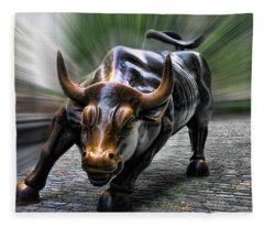 Wall Street Bull Fleece Blanket