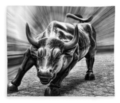 Wall Street Bull Black And White Fleece Blanket