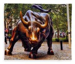 Wall Street Bull Fleece Blanket