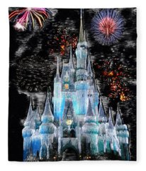 Walt Disney World Frosty Holiday Castle Fleece Blanket
