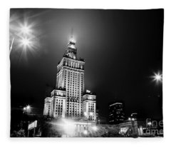 Warsaw Poland Downtown Skyline At Night Fleece Blanket