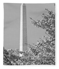 Washington Monument Amidst The Cherry Blossoms Fleece Blanket