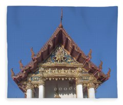 Wat Amarintaram Ubosot Gable Dthb1509 Fleece Blanket