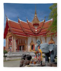 Wat Chalong Wiharn And Elephant Tribute Dthp045 Fleece Blanket